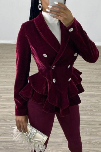 Wine Red V Neck ruffle Solid Button Patchwork Velvet Pure Long Sleeve Suit jacket SN471363