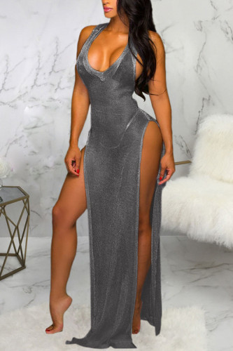 Dark Gray Polyester Patchwork Solid Asymmetrical Fashion Sexy adult Ma'am Swimwears