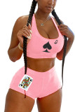 Pink Polyester Fashion adult England Ma'am Print Two Piece Suits Straight Sleeveless Two Pieces