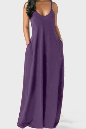 purple Polyester Sweet Slip Solid Plus Size