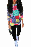 multicolor Fashion Casual Adult Polyester Print Split Joint Hooded Collar Long Sleeve Regular Sleeve Regular Two Pieces