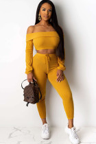 Yellow Polyester OL Two Piece Suits Solid pencil Long Sleeve Two-piece Pants Set SE21060