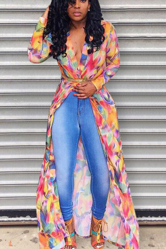 colour cardigan Print Polyester Print Long Sleeve Outerwear