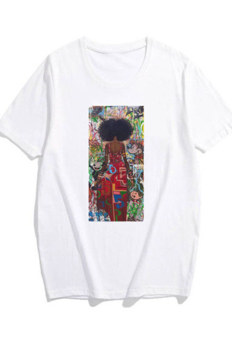 Multi-color Polyester O Neck Short Sleeve Print TOPS