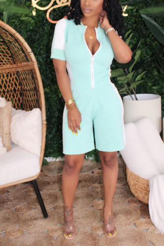 Light Blue Polyester Sexy Patchwork Solid Straight Short Sleeve Two Pieces