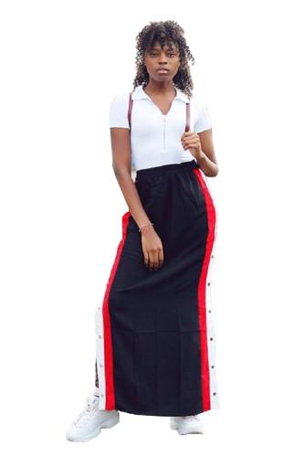 Black Polyester Elastic Fly Mid Split Patchwork Straight Pants MR06085