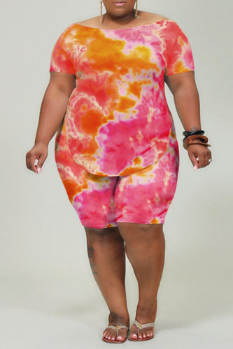 rose red Polyester Casual O Neck Print Tie Dye Pattern Plus Size
