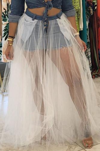 White Denim Button Fly Mid Patchwork Mesh Asymmetrical Pengpeng skirt Pants BOTTOMS