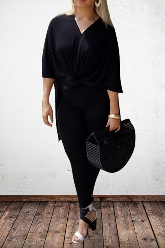 Black Polyester Sexy V Neck Solid Plus Size