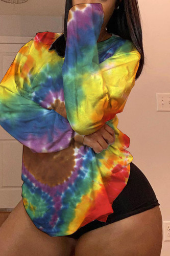 multicolor Polyester O Neck Long Sleeve Print TOPS