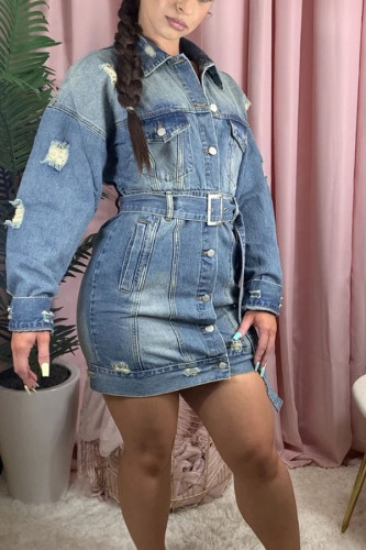 Blue Sexy Cotton Solid Ripped Split Joint Turndown Collar Outerwear