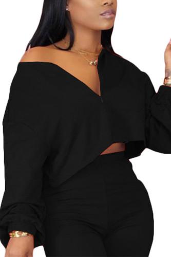 Black Polyester V Neck Long Sleeve Patchwork TOPS