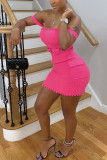 Pink Cotton Fashion Sexy adult Ma'am Off The Shoulder Sleeveless One word collar Step Skirt skirt Solid Dresses
