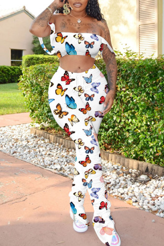 White Polyester Sexy Print Boot Cut Sleeveless Two Pieces