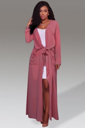 Pink V Neck Solid Bandage Patchwork Polyester Pure Long Sleeve cloak QM311429