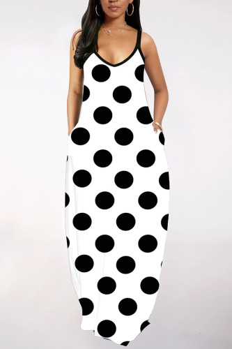 Black and white Europe and America Print Polka Dot Patchwork Dresses