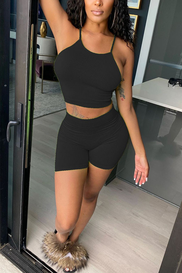 Black Polyester Fashion Casual adult Ma'am Solid Two Piece Suits pencil Sleeveless Two Pieces