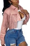 Black Fashion Street Adult Faux Leather Solid Tassel Turndown Collar Outerwear