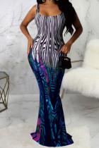 Blue Polyester Fashion Sexy adult Ma'am Spaghetti Strap Sleeveless Slip Step Skirt Floor-Length Print Dresses