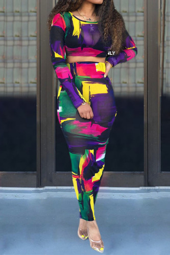 multicolor Polyester Sexy Print Regular Long Sleeve Two Pieces