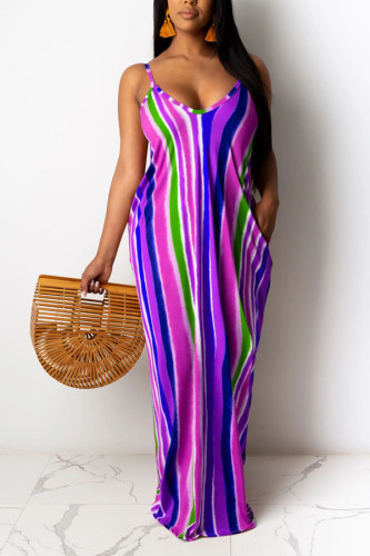 Green Sexy Spaghetti Strap Sleeveless V Neck Swagger Ankle-Length Striped Patchwork Solid Old Dresses