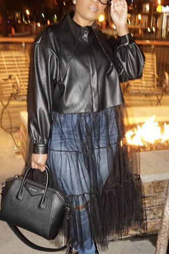 Black Gauze Faux Leather Patchwork Pierced Hollowed Out Split Joint See-through With Belt Mandarin Collar Outerwear