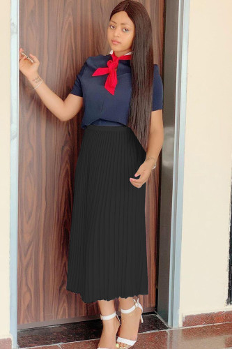 Black Polyester Elastic Fly Mid Solid Asymmetrical Draped Pleated skirt Skirts FN231281
