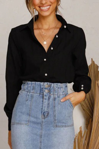 Black Cotton Turndown Collar Long Sleeve Solid Button TOPS