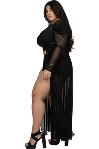 Black Polyester Fashion Ma'am adult Sexy One Shoulder Collar Solid perspective Mesh Stitching Plus Size Tops IF65090