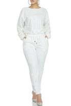 White venetian England Two Piece Suits Solid diamonds Patchwork pencil Long Sleeve Two-piece Pants Set MD621273