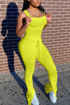 Yellow Fashion Sexy Solid Polyester Sleeveless Slip Jumpsuits