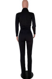 Dark Blue Polyester Fashion Casual adult Ma'am Patchwork Solid Two Piece Suits Boot Cut Long Sleeve Two Pieces
