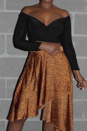 Gold Elastic Fly High Asymmetrical Draped Leopard Pleated skirt Capris Skirts ZL98021