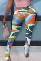 multicolor Cotton Elastic Fly Mid Print pencil Pants BOTTOMS