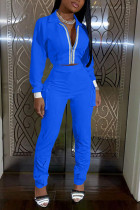 Blue Fashion Casual Adult Polyester Solid Split Joint Turndown Collar Long Sleeve Regular Sleeve Regular Two Pieces