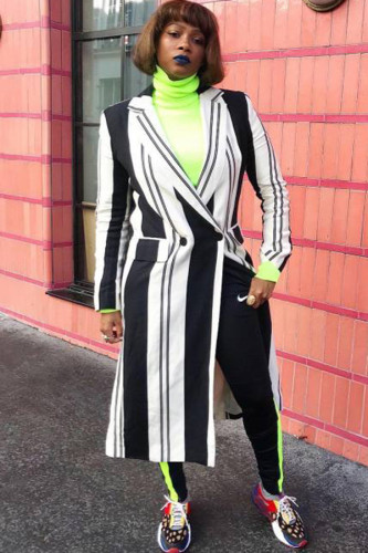 multicolor Notched Striped Polyester Striped Long Sleeve Suit jacket LZ121295