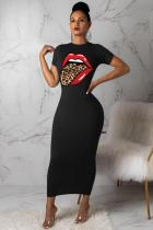 Black Polyester Fashion Casual Black Blue Cap Sleeve Short Sleeves O neck Step Skirt Ankle-Length Print Patchwork Tongue Dresses