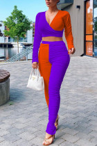 purple Polyester Fashion Sexy adult Ma'am Patchwork contrast color Two Piece Suits pencil Long Sleeve Two Pieces