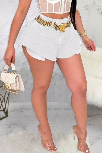 White Denim Zipper Fly Mid Solid Loose shorts BOTTOMS