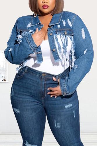 Dark Blue Denim Fashion adult Ma'am Street Turndown Collar Solid Hole washing Tassel Plus Size