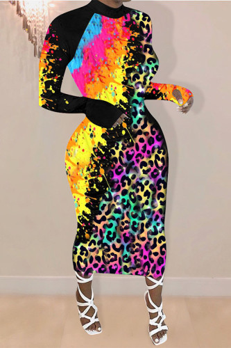 Leopard print Polyester OL Sleeve Long Sleeves O neck A-Line Ankle-Length Leopard Dresses
