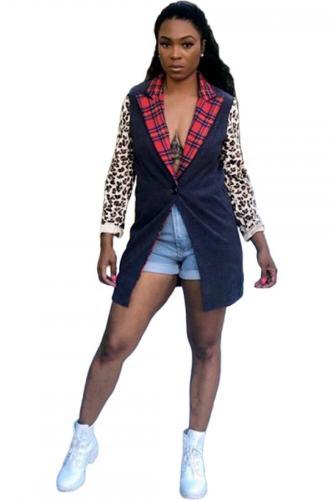 Black Notched Leopard Print Button Patchwork Polyester Print Long Sleeve Suit jacket KN103053
