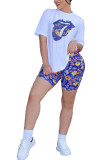 Blue Polyester Fashion Sexy adult Ma'am Print Two Piece Suits Straight Short Sleeve Two Pieces