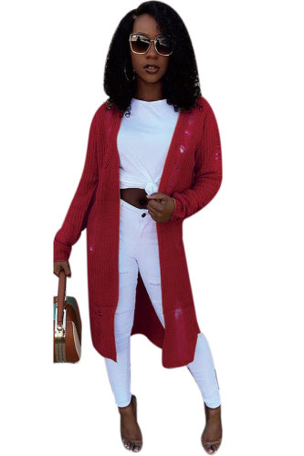 Maroon Cotton cardigan Long Sleeve Patchwork HOLLOWED OUT Split Sweaters & Cardigans DZ896