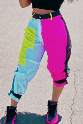Green Polyester Zipper Fly Mid Patchwork Straight Capris BOTTOMS