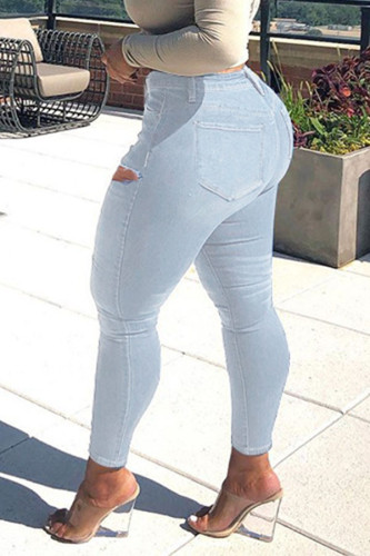 Blue Casual Solid Ripped Mid Waist Denim