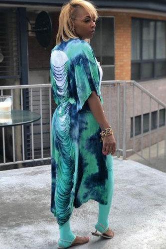 Green cardigan Print Patchwork Polyester Print Half Sleeve Blazer & Suits &Jacket DZ1200