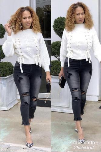 White Polyester One word collar Long Sleeve bow-knot HOLLOWED OUT Patchwork asymmetrical Solid Sweaters & Cardigans YS521223
