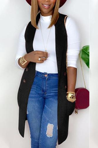 Black Fashion British Style Adult Polyester Solid Cardigan Turndown Collar TOPS