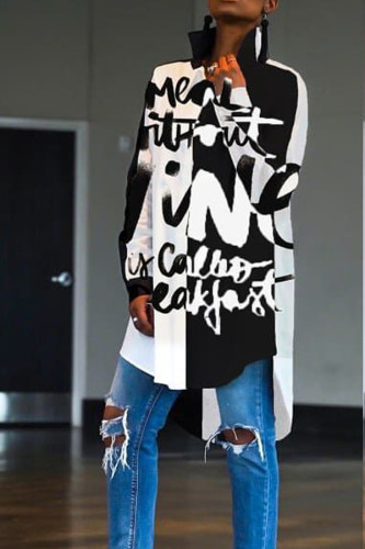 Multi-color Polyester Turndown Collar Long Sleeve Patchwork asymmetrical Letter Blouses & Shirts